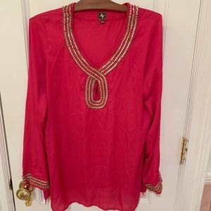 AV Pink w/ Gold Beaded Embellished Tunic Kaftan
